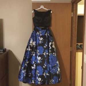 Two piece Tiffany Design floral prom dress